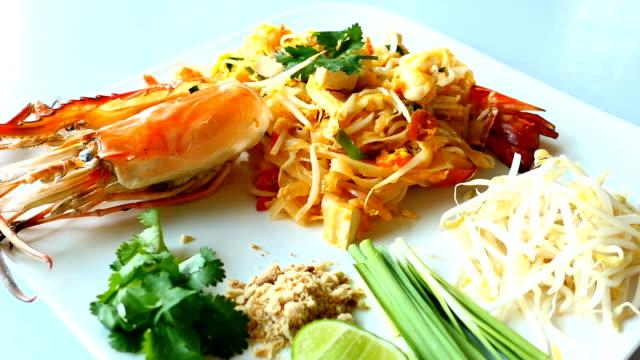 Pad thai noodles with jumbo prawn video