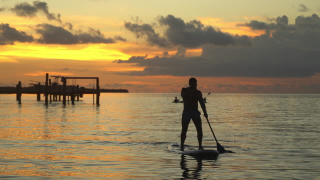 Paddle boarder on the beach at sunset in Key Largo