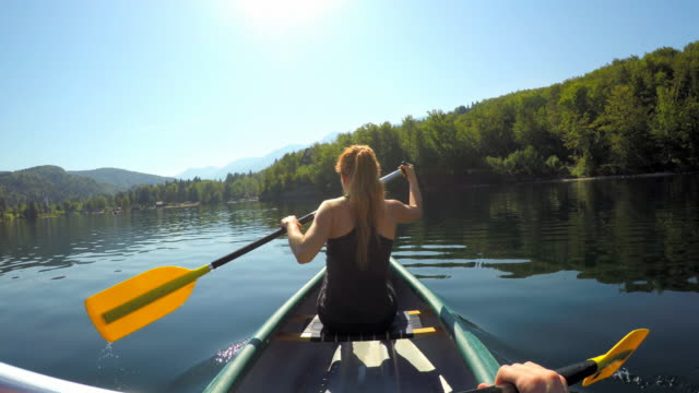 paddling canoe on a pristine lake - lakes stock videos and b-roll footage
