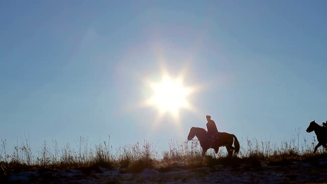 Paddocks. Riders walk their horses on mountain tops. Sunny evening on the horizon. rancher stock videos & royalty-free footage