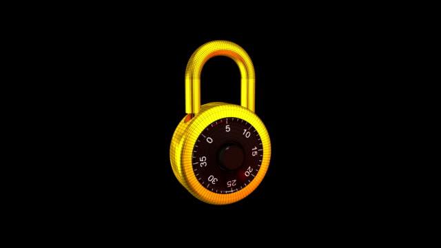Padlock 3D Unlocking Isolated Element HD1080 video