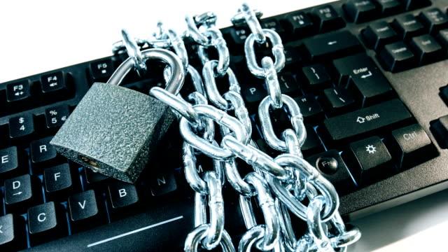 Padlock chain and computer keyboard video