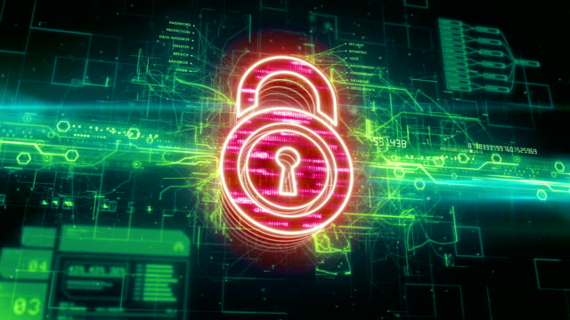Padlock icon on abstract background video