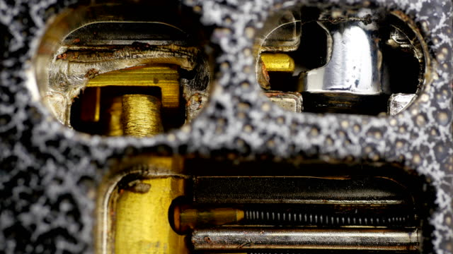 Padlock inside the lock mechanism close-up. video