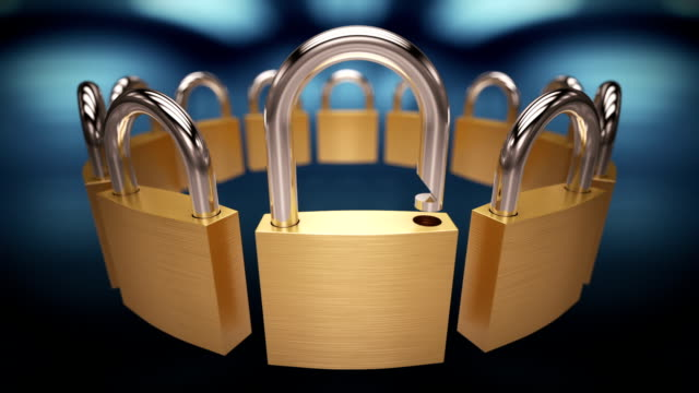 Padlock opening in a row. Loopable CG. video