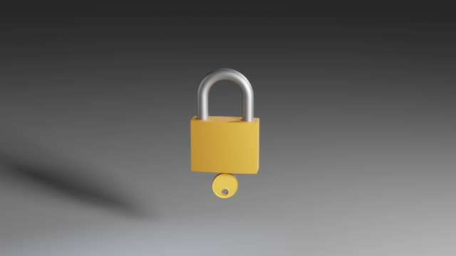 Padlock opening with the key