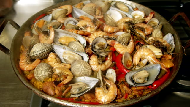 paella spanish cuisine dish - spanish food stock videos and b-roll footage