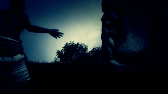 Pagan Talking to an Ancient Stone God Pagan Talking to an Ancient Stone God bagan stock videos & royalty-free footage