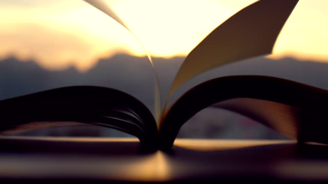 Pages flipped by the wind at sunset