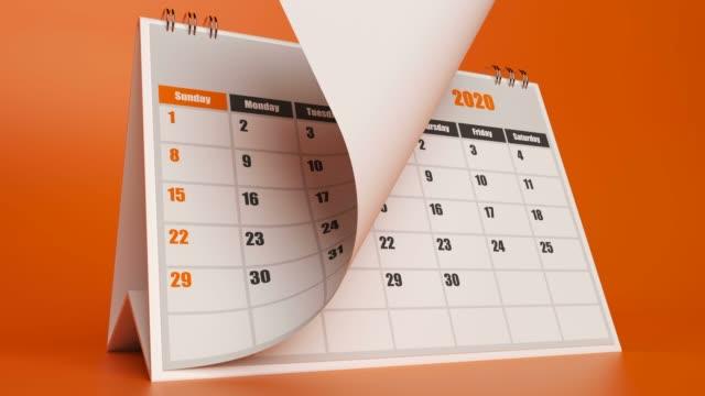 strony kalendarza 2020 odlatują - data filmów i materiałów b-roll