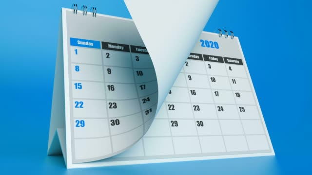 Pages Of A Calendar Are Flying Away On Blue Background