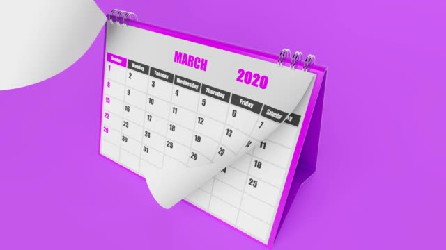 Pages Of Calendar 2020 Year On Purple Background
