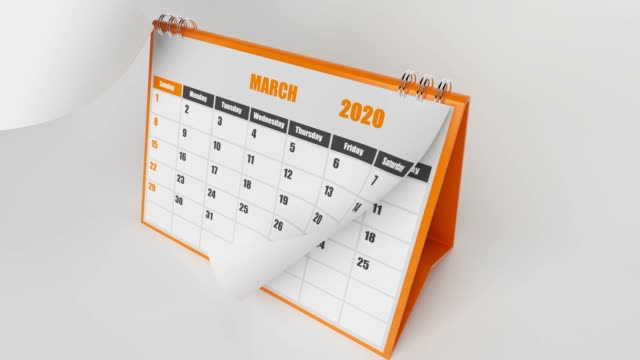 Pages Of Calendar 2020 Year On White Background