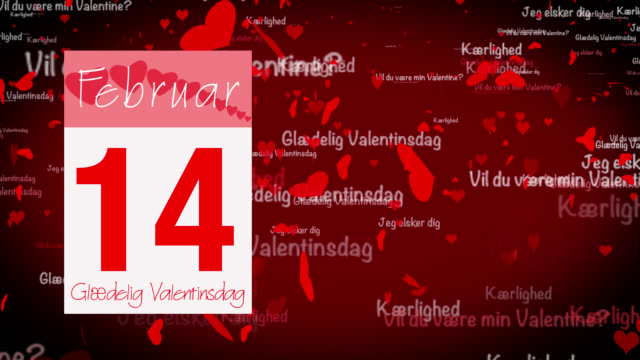 Pages pealing from a calendar stopping at 14 of February with valentine greeting in Danish