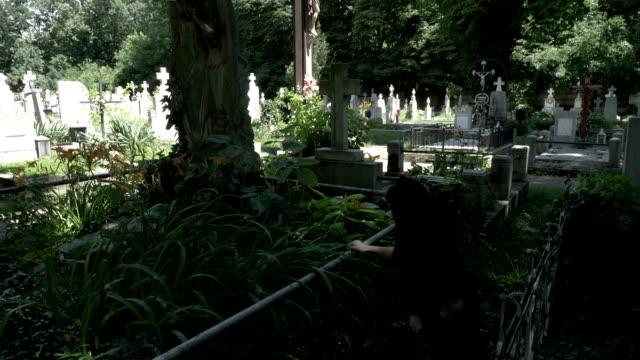 stockvideo's en b-roll-footage met begrafenis vrouw weduwe plaatsen van een kroon op oude graf met standbeeld bedekt met klimop mos en onkruid huilen van haar knieën pijn - funeral crying