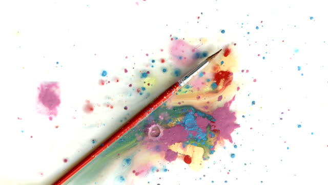 HD: Paint Dripping Over A Paintbrush video
