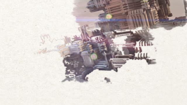 paint reveal -  3d illustration of futuristic shapes