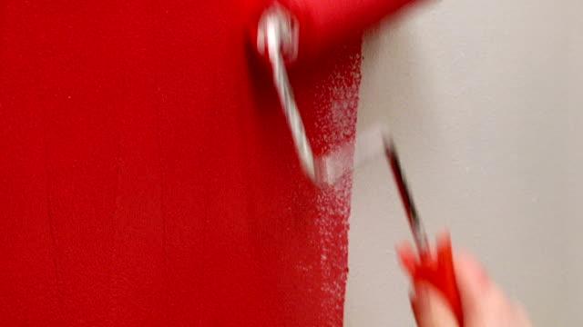paint roller 1 - painting wall bildbanksvideor och videomaterial från bakom kulisserna