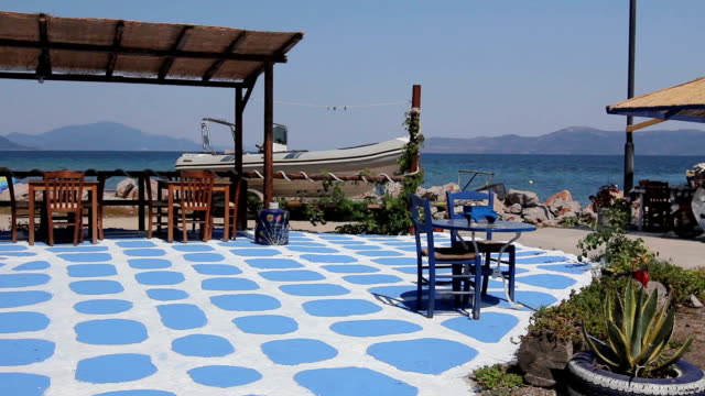 Painted floor as artistic design in a typical outdoor Greek tavern video