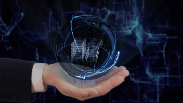 手の番組コンセプト ホログラム 3 d 金手を塗装 - クレジットカード点の映像素材/bロール
