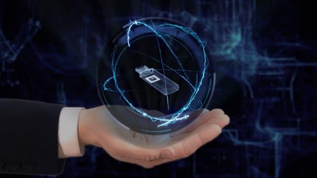 vídeos y material grabado en eventos de stock de pintados a mano muestra concepto del holograma 3d usb stick en la mano - copiar