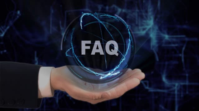 Painted hand shows concept hologram FAQ on his hand Painted hand shows concept hologram FAQ on his hand. Drawn man in business suit with future technology screen and modern cosmic background faq stock videos & royalty-free footage
