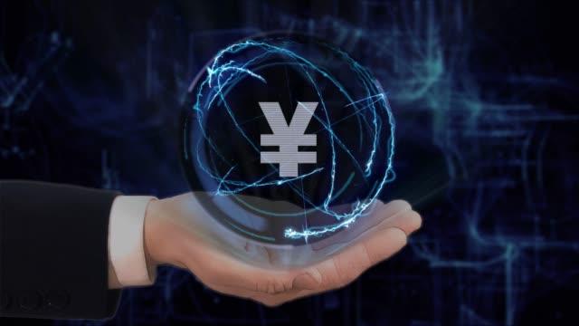stockvideo's en b-roll-footage met hand toont concept hologram teken jpy op zijn hand geschilderd - yenteken