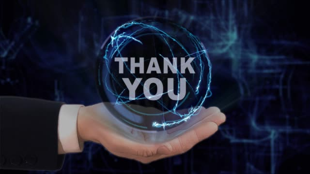 Painted hand shows concept hologram Thank you on his hand video