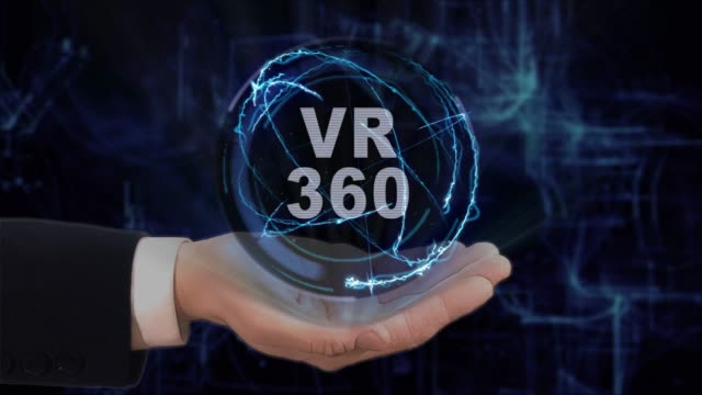 Painted hand shows concept hologram VR 360 on his hand video
