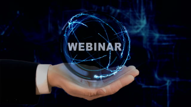 Painted hand shows concept hologram Webinar on his hand Painted hand shows concept hologram Webinar on his hand. Drawn man in business suit with future technology screen and modern cosmic background online meeting stock videos & royalty-free footage