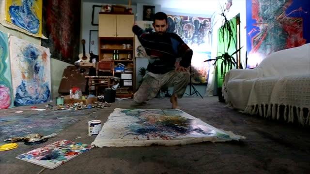 Painter splashing on painting