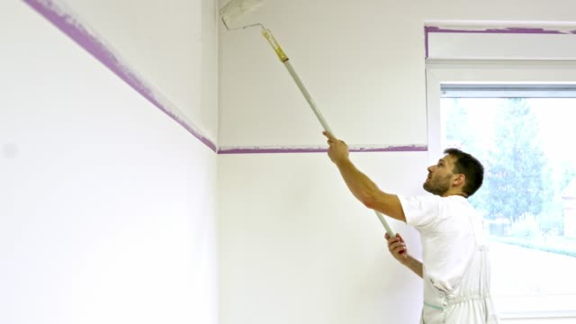 Painter using a painting roller on extended handle to paint the wall Professional painter at work. Painter painting the walls with a painters roller and brush for more precise application. Construction worker painting the walls with white wall paint. Room makeover in progress. house painter stock videos & royalty-free footage