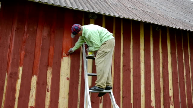 painter wall brush painter standing on a ladder to the house wall paint wooden wall with thick brush barns stock videos & royalty-free footage