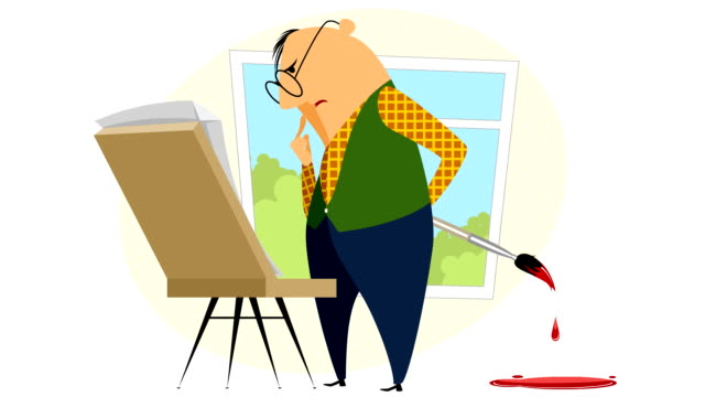 painter with his easel - tavolozza video stock e b–roll