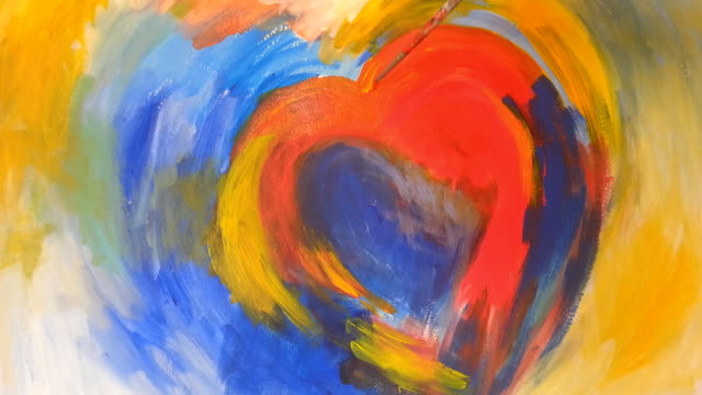 Painting a heart with acrylic colors on paper video