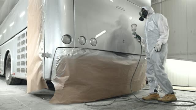Painting Bus In Collision Repair Shop.