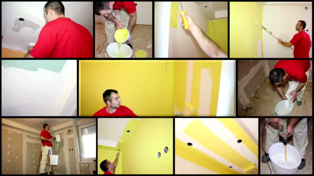 Painting Contractor at Work - Interior Decoration Craftsman arranging an apartment. Installing dry wall, plastering, painting. HD1080p.  craftsman architecture stock videos & royalty-free footage