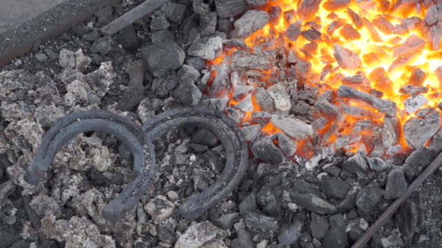 A pair of horseshoes cools in a forging brazier. Annealing and heat-treating of iron parts for forging. A pair of horseshoes cools in a forging brazier. Annealing and heat-treating of iron parts for forging. Static camera. wrought iron stock videos & royalty-free footage