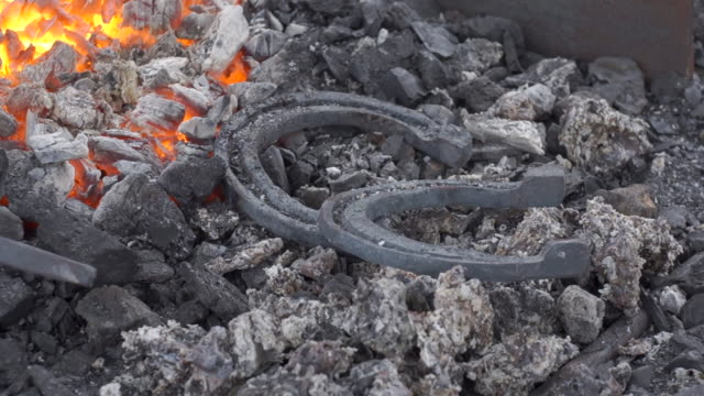 A pair of horseshoes cools in a forging brazier. A pair of horseshoes cools in a forging brazier. Annealing and heat-treating of iron parts for forging. Static camera. wrought iron stock videos & royalty-free footage