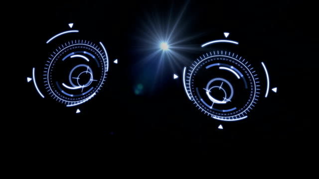 Pair shureshki flying with flair light effect. Dark background. Sci-fi fantastic futuristic graphic motion animation. Rotation blue abstract shureshki. High tech technology motion. Graphic content video