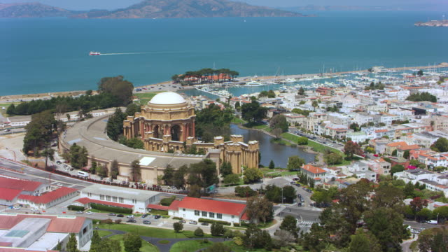 AERIAL Palace of Fine Arts in Marina district,  San Francisco, CA