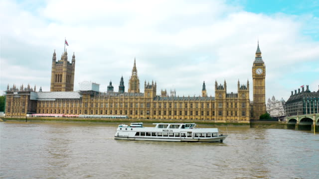 Palace of Westminster and boat on Thames river video