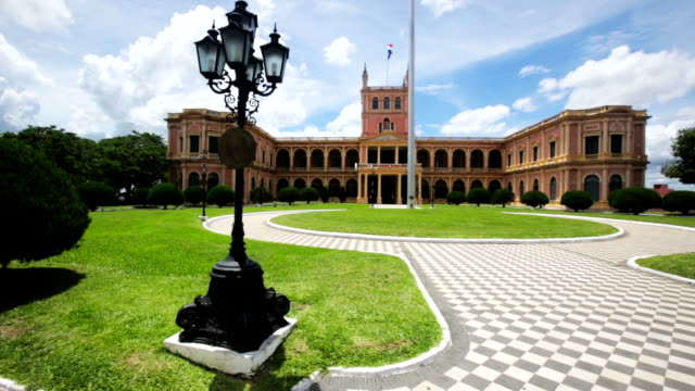 palacio de los lopez official residence - парагвай стоковые видео и кадры b-roll