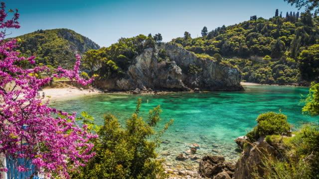 Paleokastritsa bay on Corfu island, Greece
