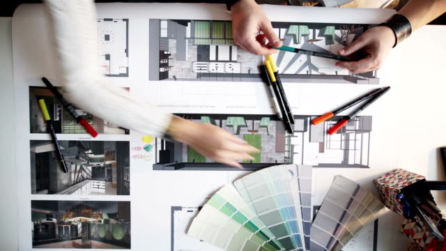 palette of colors designs for interior works, samples of plastics, pvc, for furnishing, artificial stone, perforated metal, coated with a polymer and architectural plans for houses - architect stock videos and b-roll footage