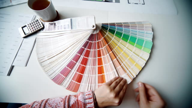 palette of colors designs for interior works, samples of plastics, PVC, for furnishing, artificial stone, perforated metal, coated with a polymer and architectural plans for houses video