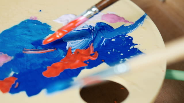 Palette with colorful paints video