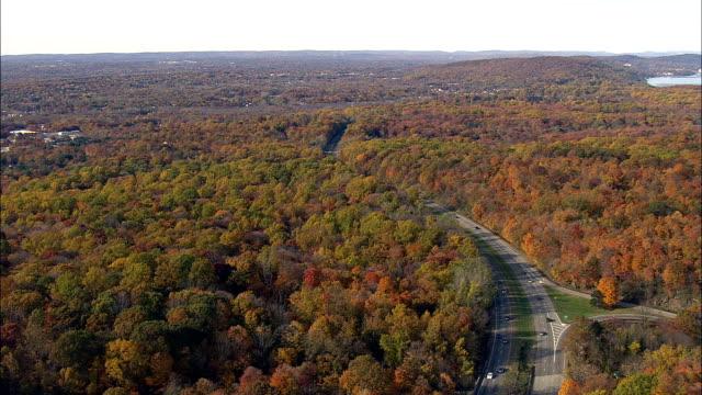パリセーズ インターステート ・ パークウェイ - 空中写真 - ニューヨーク、ニューヨーク郡、アメリカ合衆国 - 州間高速道路点の映像素材/bロール