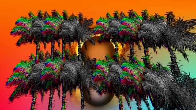 ヤシの木と火の輪 - 後方点の映像素材/bロール