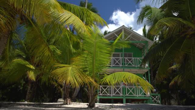 palme und villa an tropischen karibik - urlaubsort stock-videos und b-roll-filmmaterial